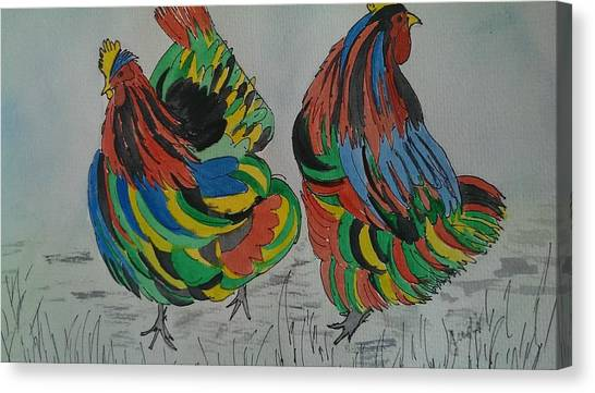 Psychedelic Chooks Canvas Print