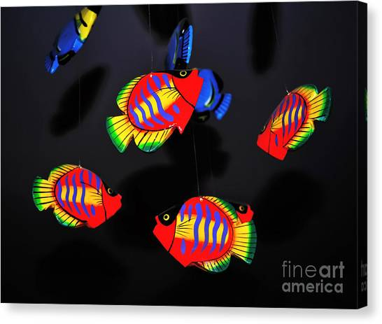 Still Life With Fish Canvas Print - Psychedelic Flying Fish by Kaye Menner