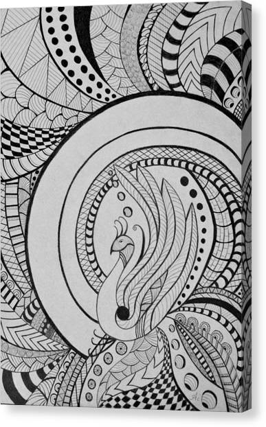 Psychedelic Peacock - Zentangle Drawing - Ai P.nilson Canvas Print