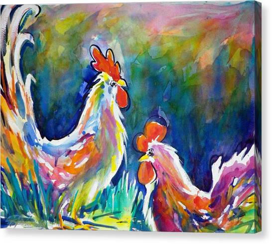 Psychodelic Cluckers Canvas Print by Therese Fowler-Bailey
