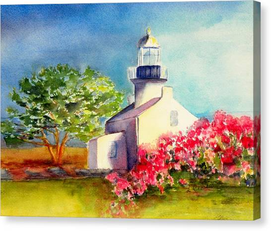 Pt Loma Lighthouse Canvas Print by Lori Chase