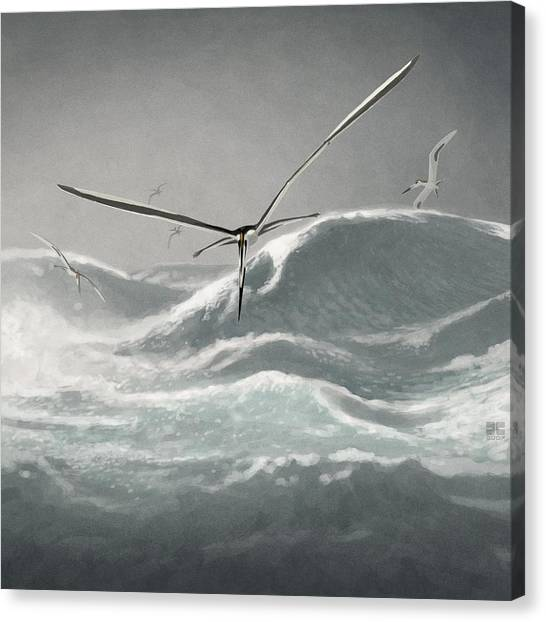 Pterodactyls Canvas Print - Pteranodon (pteranodon Sternbergi) by John Conway/science Photo Library