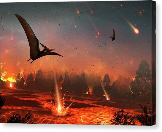 Pterodactyls Canvas Print - Pterosaurs And Mass Extinction by Mark Garlick
