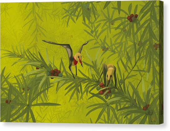 Pterodactyls Canvas Print - Pterosaurs (nemicolopterus Crypticus) by John Conway/science Photo Library