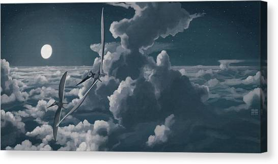Pterodactyls Canvas Print - Pterosaurs (nyctosaurus Sp.) Artwork by John Conway/science Photo Library