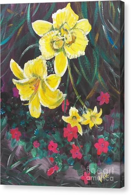 Ptg. Day Lillies And Impatients Canvas Print by Judy Via-Wolff