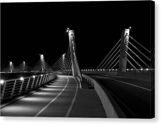 Ptuj Bridge Bw Canvas Print