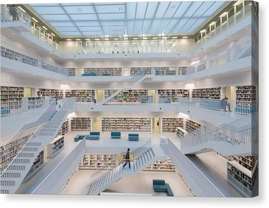 Public Library Stuttgart - Modern Architecture And Lots Of Books Canvas Print