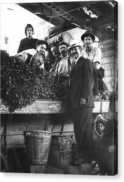 Vegetable Stand Canvas Print - Public Market Vegetable Stand by Underwood Archives