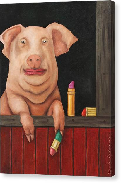 Pig Farms Canvas Print - Pucker Up by Leah Saulnier The Painting Maniac