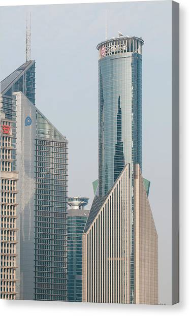 Shanghai Skyline Canvas Print - Pudong District Shanghai, China by Michael Defreitas