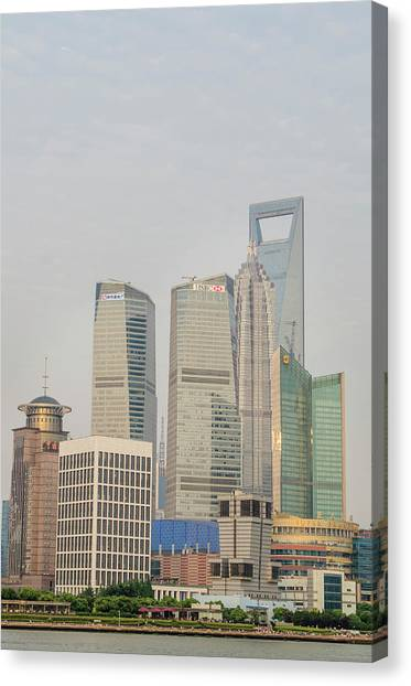 Shanghai Skyline Canvas Print - Pudong District Skyline And Huangpu by Michael Defreitas