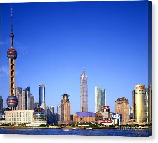 Shanghai Skyline Canvas Print - Pudong by Rafael Macia