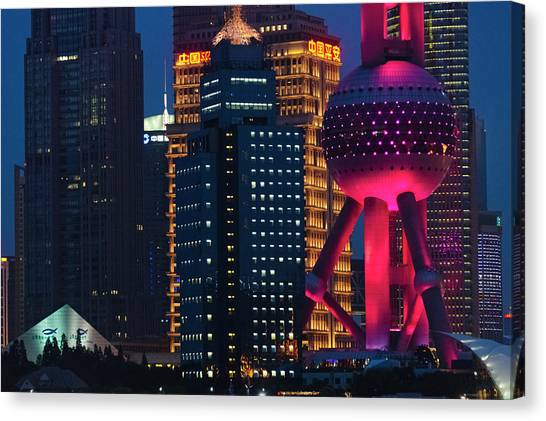 Tv Tower Canvas Print - Pudong Skyline Dominated By Oriental by Keren Su