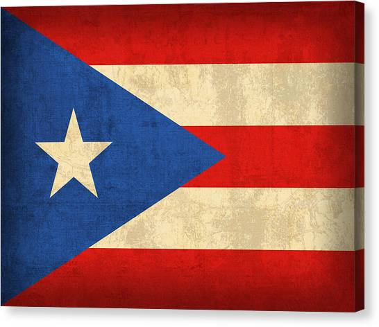 Puerto Canvas Print - Puerto Rico Flag Vintage Distressed Finish by Design Turnpike