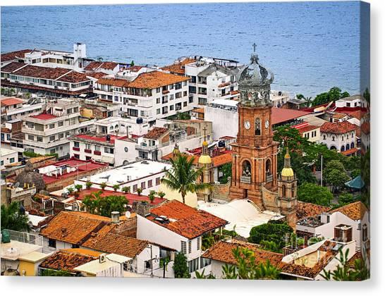 Puerto Canvas Print - Puerto Vallarta Rooftops by Elena Elisseeva