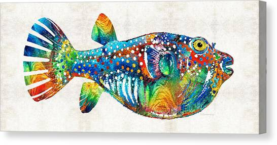 Scuba Diving Canvas Print - Puffer Fish Art - Blow Puff - By Sharon Cummings by Sharon Cummings