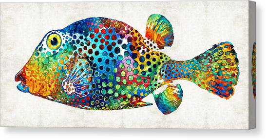 Scuba Diving Canvas Print - Puffer Fish Art - Puff Love - By Sharon Cummings by Sharon Cummings