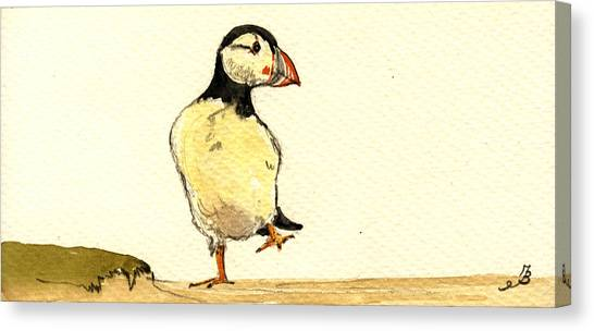 Puffin Canvas Print - Puffin Bird by Juan  Bosco