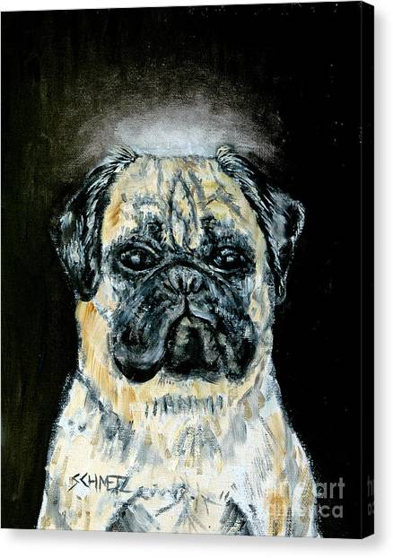 Pug Angel Canvas Print by Jay  Schmetz