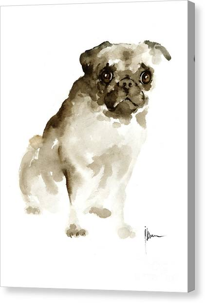 Pug Canvas Print - Pug Dog Painting Watercolor Art Print Dog Large Poster by Joanna Szmerdt