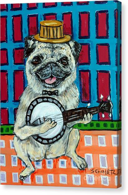 Pug Playing Banjo Canvas Print by Jay  Schmetz