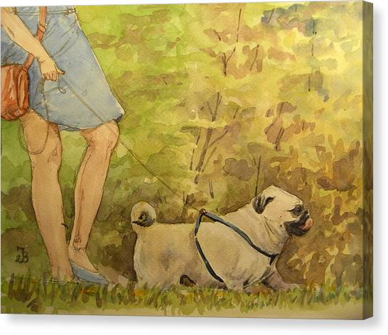 Pugs Canvas Print - Pug Walkign by Juan  Bosco