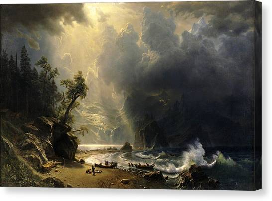 Canvas Print featuring the painting Puget Sound On The Pacific Coast by Albert Bierstadt