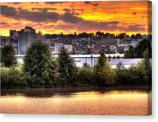 Pulallup River Sunset II Canvas Print