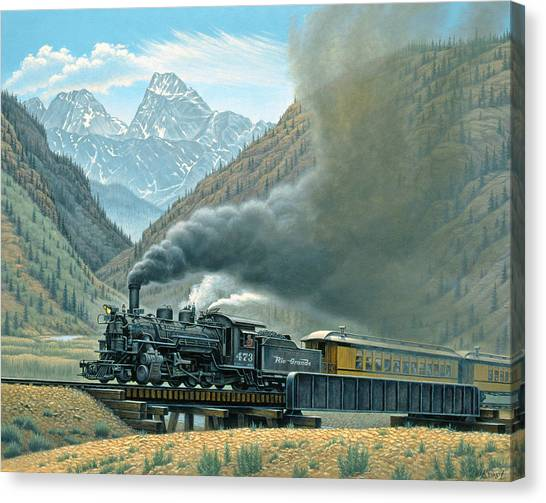 Railroads Canvas Print - Pulling For Silverton by Paul Krapf