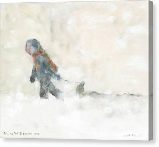 Pulling The Toboggan Home Canvas Print