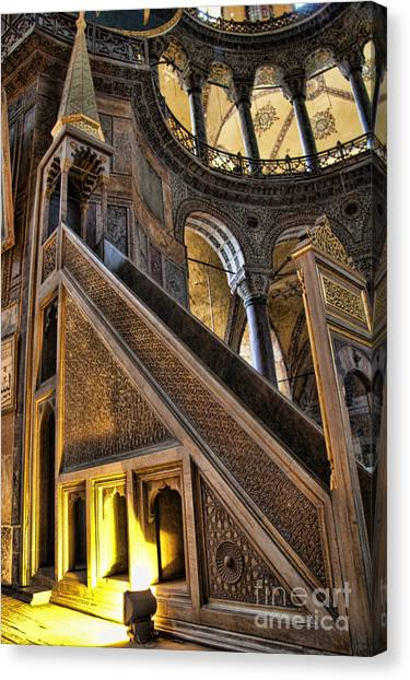 Orthodox Art Canvas Print - Pulpit In The Aya Sofia Museum In Istanbul  by David Smith