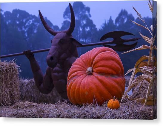 Minotaur Canvas Print - Pumpkin And Minotaur by Garry Gay