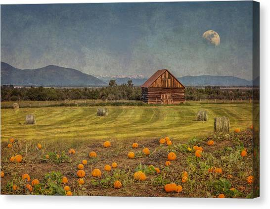 Canvas Print featuring the photograph Pumpkin Field Moon Shack by Patti Deters
