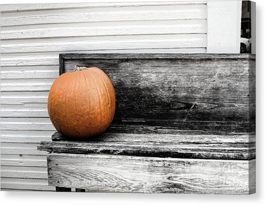 Pumpkin On A Bench Canvas Print by Audreen Gieger