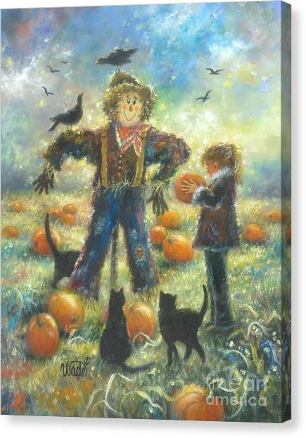 Pumpkin Patch Canvas Print - Pumpkin Patch Girl by Vickie Wade