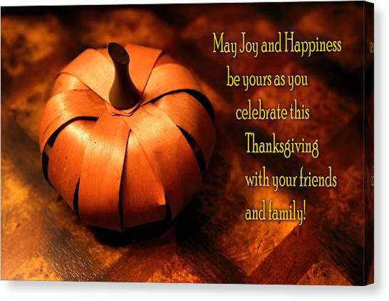 Pumpkin Thanksgiving Card Canvas Print
