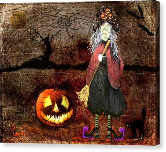 Pumpkinella The Magical Good Witch And Her Magical Cat Canvas Print