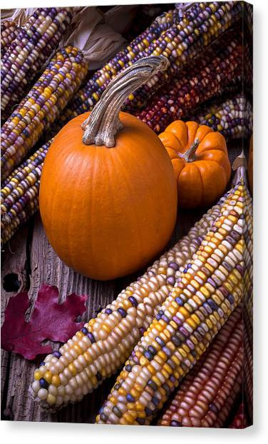 Indian Corn Canvas Print - Pumpkins And Corn by Garry Gay