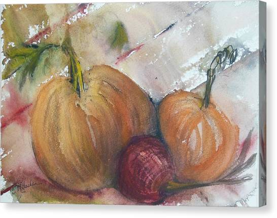 Pumpkins And Onion Canvas Print