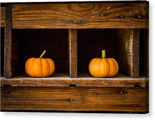 Pumpkins On Display Canvas Print