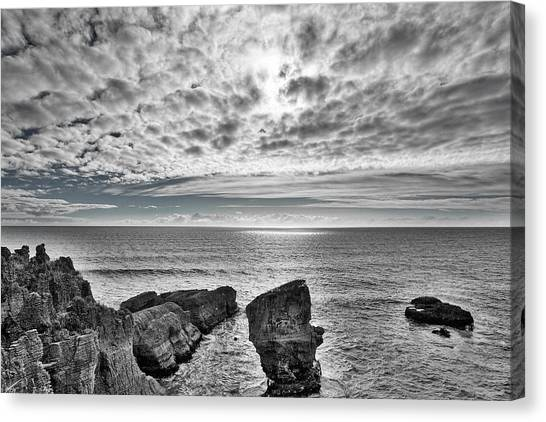 South island nz canvas print punakaiki pancake rocks 3 black and white by