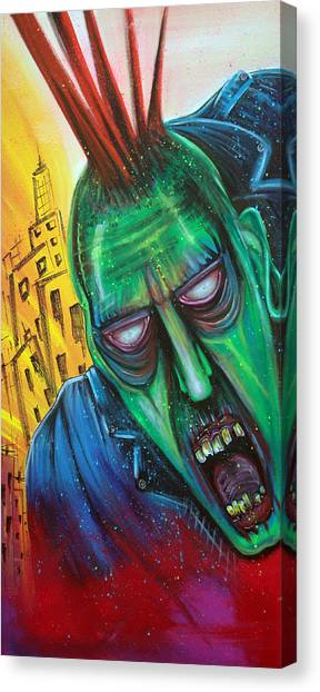 Punk Rock Zombie Canvas Print by Laura Barbosa