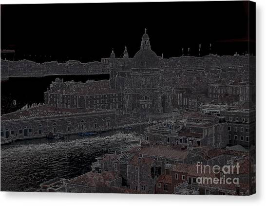 Punta Dellla Dogana Panorama Drawing Canvas Print by Jacqueline M Lewis