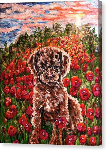 Puppy And Poppies Canvas Print