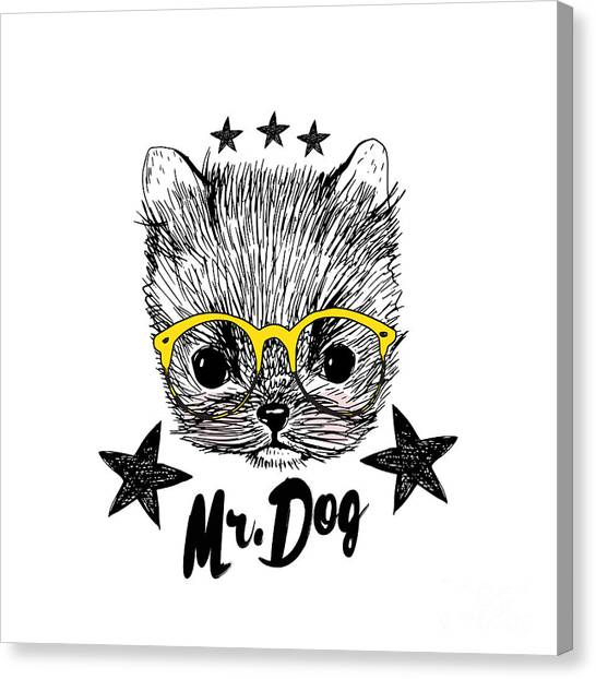 Puppy And Yellow Glasses Illustration Canvas Print by Shekaka