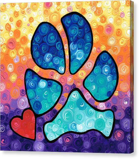 Chihuahuas Canvas Print - Puppy Love - Colorful Dog Paw Art By Sharon Cummings by Sharon Cummings