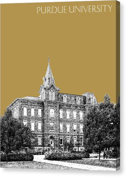 Purdue University Canvas Print - Purdue University - University Hall - Brass by DB Artist
