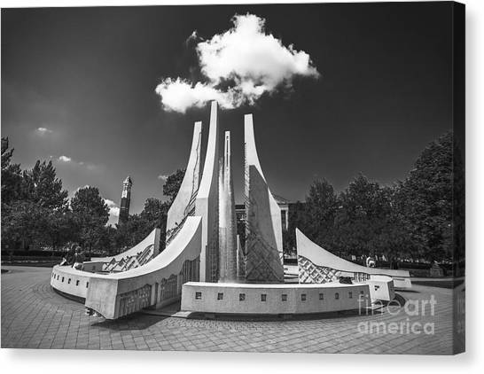 Purdue University Canvas Print - Purdue University Mall Water Fountain Clouds by David Haskett II