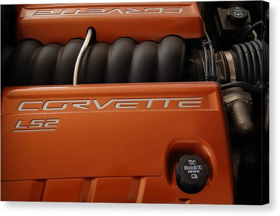Pure American Racing - Corvette Engine The Ls-2  Canvas Print by Steven Milner